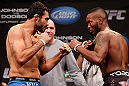 CHICAGO, IL - JANUARY 25:  (L-R) Opponents Rafael Natal and Sean Spencer face off during the UFC on FOX weigh-in on January 25, 2013 at the Chicago Theatre in Chicago, Illinois. (Photo by Josh Hedges/Zuffa LLC/Zuffa LLC via Getty Images)