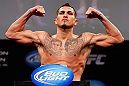 CHICAGO, IL - JANUARY 25:  Anthony Pettis weighs in during the UFC on FOX weigh-in on January 25, 2013 at the Chicago Theatre in Chicago, Illinois. (Photo by Josh Hedges/Zuffa LLC/Zuffa LLC via Getty Images)