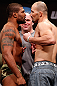 "CHICAGO, IL - JANUARY 25:  (L-R) Opponents Quinton ""Rampage"" Jackson and Glover Teixeira face off during the UFC on FOX weigh-in on January 25, 2013 at the Chicago Theatre in Chicago, Illinois. (Photo by Josh Hedges/Zuffa LLC/Zuffa LLC via Getty Images)"