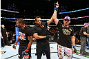 CHICAGO, IL - JANUARY 26:  Glover Teixeira (R) celebrates after defeating Rampage Jackson (L) during their Light Heavyweight Bout part of UFC on FOX at United Center on January 26, 2013 in Chicago, Illinois.  (Photo by Al Bello/Zuffa LLC/Zuffa LLC Via Getty Images)