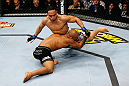 CHICAGO, IL - JANUARY 26:  John Dodson (R) fights Demetrious Johnson (L) during thier Flyweight Championship Bout part of UFC on FOX at United Center on January 26, 2013 in Chicago, Illinois.  (Photo by Al Bello/Zuffa LLC/Zuffa LLC Via Getty Images)