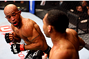 CHICAGO, IL - JANUARY 26:  Demetrious Johnson (L) fights John Dodson (R) during thier Flyweight Championship Bout part of UFC on FOX at United Center on January 26, 2013 in Chicago, Illinois.  (Photo by Al Bello/Zuffa LLC/Zuffa LLC Via Getty Images)