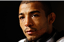 LAS VEGAS, NV - JANUARY 31:  UFC featherweight champion Jose Aldo interacts with media during the UFC 156 Ultimate Media Day on January 31, 2013 at the Mandalay Bay in Las Vegas, Nevada.  (Photo by Josh Hedges/Zuffa LLC/Zuffa LLC via Getty Images)