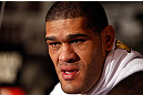 LAS VEGAS, NV - JANUARY 31:  Antonio &quot;Bigfoot&quot; Silva interacts with media during the UFC 156 Ultimate Media Day on January 31, 2013 at the Mandalay Bay in Las Vegas, Nevada.  (Photo by Josh Hedges/Zuffa LLC/Zuffa LLC via Getty Images)