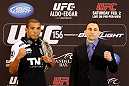 LAS VEGAS, NV - JANUARY 31:  (L-R) Opponents Jose Aldo and Frankie Edgar pose for photos during the UFC 156 Ultimate Media Day on January 31, 2013 at the Mandalay Bay in Las Vegas, Nevada.  (Photo by Josh Hedges/Zuffa LLC/Zuffa LLC via Getty Images)