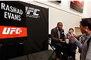 LAS VEGAS, NV - JANUARY 31:  Rashad Evans interacts with media during the UFC 156 Ultimate Media Day on January 31, 2013 at the Mandalay Bay in Las Vegas, Nevada.  (Photo by Josh Hedges/Zuffa LLC/Zuffa LLC via Getty Images)