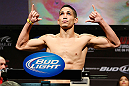 LAS VEGAS, NV - FEBRUARY 01:  Dustin Kimura weighs in during the UFC 156 weigh-in on February 1, 2013 at Mandalay Bay Events Center in Las Vegas, Nevada.  (Photo by Josh Hedges/Zuffa LLC/Zuffa LLC via Getty Images)