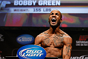 LAS VEGAS, NV - FEBRUARY 01:  Bobby Green weighs in during the UFC 156 weigh-in on February 1, 2013 at Mandalay Bay Events Center in Las Vegas, Nevada.  (Photo by Josh Hedges/Zuffa LLC/Zuffa LLC via Getty Images)
