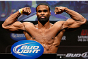 LAS VEGAS, NV - FEBRUARY 01:  Tyron Woodley weighs in during the UFC 156 weigh-in on February 1, 2013 at Mandalay Bay Events Center in Las Vegas, Nevada.  (Photo by Josh Hedges/Zuffa LLC/Zuffa LLC via Getty Images)