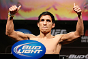 LAS VEGAS, NV - FEBRUARY 01:  Joseph Benavidez weighs in during the UFC 156 weigh-in on February 1, 2013 at Mandalay Bay Events Center in Las Vegas, Nevada.  (Photo by Josh Hedges/Zuffa LLC/Zuffa LLC via Getty Images)