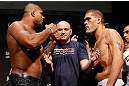LAS VEGAS, NV - FEBRUARY 01:  (L-R) Opponents Alistair Overeem and Antonio &quot;Bigfoot&quot; Silva face off during the UFC 156 weigh-in on February 1, 2013 at Mandalay Bay Events Center in Las Vegas, Nevada.  (Photo by Josh Hedges/Zuffa LLC/Zuffa LLC via Getty Images)