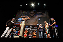 LAS VEGAS, NV - FEBRUARY 01:  Rashad Evans weighs in as opponent Antonio Rogerio Nogueira looks on during the UFC 156 weigh-in on February 1, 2013 at Mandalay Bay Events Center in Las Vegas, Nevada.  (Photo by Josh Hedges/Zuffa LLC/Zuffa LLC via Getty Images)