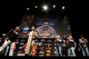 LAS VEGAS, NV - FEBRUARY 01:  Frankie Edgar weighs in during the UFC 156 weigh-in on February 1, 2013 at Mandalay Bay Events Center in Las Vegas, Nevada.  (Photo by Josh Hedges/Zuffa LLC/Zuffa LLC via Getty Images)
