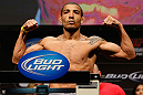 LAS VEGAS, NV - FEBRUARY 01:  Jose Aldo weighs in during the UFC 156 weigh-in on February 1, 2013 at Mandalay Bay Events Center in Las Vegas, Nevada.  (Photo by Josh Hedges/Zuffa LLC/Zuffa LLC via Getty Images)