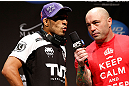 LAS VEGAS, NV - FEBRUARY 01:  (L-R) Jose Aldo is interviewed by Joe Rogan during the UFC 156 weigh-in on February 1, 2013 at Mandalay Bay Events Center in Las Vegas, Nevada.  (Photo by Josh Hedges/Zuffa LLC/Zuffa LLC via Getty Images)