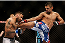 LAS VEGAS, NV - FEBRUARY 02:  (R-L) Edwin Figueroa kicks Francisco Rivera during their bantamweight fight at UFC 156 on February 2, 2013 at the Mandalay Bay Events Center in Las Vegas, Nevada.  (Photo by Josh Hedges/Zuffa LLC/Zuffa LLC via Getty Images) *** Local Caption *** Francisco Rivera; Edwin Figueroa