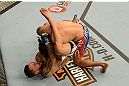 LAS VEGAS, NV - FEBRUARY 02:  Francisco Rivera (bottom) attempts to submit Edwin Figueroa during their bantamweight fight at UFC 156 on February 2, 2013 at the Mandalay Bay Events Center in Las Vegas, Nevada.  (Photo by Donald Miralle/Zuffa LLC/Zuffa LLC via Getty Images) *** Local Caption *** Francisco Rivera; Edwin Figueroa