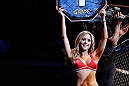 LAS VEGAS, NV - FEBRUARY 02:  UFC Octagon Girl Brittney Palmer introduces round one of Yves Edwards and Isaac Vallie-Flagg's lightweight fight at UFC 156 on February 2, 2013 at the Mandalay Bay Events Center in Las Vegas, Nevada.  (Photo by Josh Hedges/Zuffa LLC/Zuffa LLC via Getty Images) *** Local Caption *** Yves Edwards; Isaac Vallie-Flagg