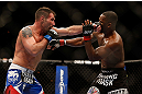 LAS VEGAS, NV - FEBRUARY 02:  (L-R) Isaac Vallie-Flagg punches Yves Edwards during their lightweight fight at UFC 156 on February 2, 2013 at the Mandalay Bay Events Center in Las Vegas, Nevada.  (Photo by Josh Hedges/Zuffa LLC/Zuffa LLC via Getty Images) *** Local Caption *** Yves Edwards; Isaac Vallie-Flagg