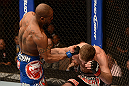 LAS VEGAS, NV - FEBRUARY 02:  (L-R) Bobby Green punches Jacob Volkmann during their lightweight fight at UFC 156 on February 2, 2013 at the Mandalay Bay Events Center in Las Vegas, Nevada.  (Photo by Donald Miralle/Zuffa LLC/Zuffa LLC via Getty Images) *** Local Caption *** Jacob Volkmann; Bobby Green