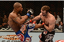 LAS VEGAS, NV - FEBRUARY 02: (L-R) Bobby Green kicks Jacob Volkmann during their lightweight fight at UFC 156 on February 2, 2013 at the Mandalay Bay Events Center in Las Vegas, Nevada.  (Photo by Donald Miralle/Zuffa LLC/Zuffa LLC via Getty Images) *** Local Caption *** Jacob Volkmann; Bobby Green