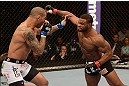 LAS VEGAS, NV - FEBRUARY 02:  (R-L) Tyron Woodley punches Jay Hieron during their welterweight fight at UFC 156 on February 2, 2013 at the Mandalay Bay Events Center in Las Vegas, Nevada.  (Photo by Donald Miralle/Zuffa LLC/Zuffa LLC via Getty Images) *** Local Caption *** Jay Hieron; Tyron Woodley