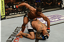 LAS VEGAS, NV - FEBRUARY 02:  Tyron Woodley (top) punches Jay Hieron during their welterweight fight at UFC 156 on February 2, 2013 at the Mandalay Bay Events Center in Las Vegas, Nevada.  (Photo by Donald Miralle/Zuffa LLC/Zuffa LLC via Getty Images) *** Local Caption *** Jay Hieron; Tyron Woodley