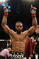 LAS VEGAS, NV - FEBRUARY 02:  Tyron Woodley reacts to his victory over Jay Hieron after their welterweight fight at UFC 156 on February 2, 2013 at the Mandalay Bay Events Center in Las Vegas, Nevada.  (Photo by Donald Miralle/Zuffa LLC/Zuffa LLC via Getty Images) *** Local Caption *** Jay Hieron; Tyron Woodley