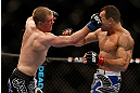 LAS VEGAS, NV - FEBRUARY 02:  (L-R) Evan Dunham punches Gleison Tibau during their lightweight fight at UFC 156 on February 2, 2013 at the Mandalay Bay Events Center in Las Vegas, Nevada.  (Photo by Josh Hedges/Zuffa LLC/Zuffa LLC via Getty Images) *** Local Caption *** Gleison Tibau; Evan Dunham