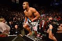 LAS VEGAS, NV - FEBRUARY 02:  Alistair Overeem enters the Octagon to face Antonio Silva before their heavyweight fight at UFC 156 on February 2, 2013 at the Mandalay Bay Events Center in Las Vegas, Nevada.  (Photo by Donald Miralle/Zuffa LLC/Zuffa LLC via Getty Images) *** Local Caption *** Alistair Overeem; Antonio Silva