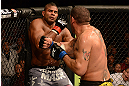 LAS VEGAS, NV - FEBRUARY 02:  (R-L) Antonio Silva punches Alistair Overeem during their heavyweight fight at UFC 156 on February 2, 2013 at the Mandalay Bay Events Center in Las Vegas, Nevada.  (Photo by Donald Miralle/Zuffa LLC/Zuffa LLC via Getty Images) *** Local Caption *** Alistair Overeem; Antonio Silva