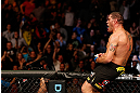 LAS VEGAS, NV - FEBRUARY 02:  (R-L) Antonio Silva reacts to his knockout victory over Alistair Overeem after their heavyweight fight at UFC 156 on February 2, 2013 at the Mandalay Bay Events Center in Las Vegas, Nevada.  (Photo by Josh Hedges/Zuffa LLC/Zuffa LLC via Getty Images) *** Local Caption *** Alistair Overeem; Antonio Silva