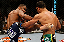 LAS VEGAS, NV - FEBRUARY 02:  (L-R) Rashad Evans kicks Antonio Rogerio Nogueira during their light heavyweight fight at UFC 156 on February 2, 2013 at the Mandalay Bay Events Center in Las Vegas, Nevada.  (Photo by Josh Hedges/Zuffa LLC/Zuffa LLC via Getty Images) *** Local Caption *** Rashad Evans; Antonio Rogerio Nogueira