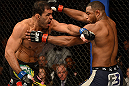 LAS VEGAS, NV - FEBRUARY 02:  (L-R) Antonio Rogerio Nogueira punches Rashad Evans during their light heavyweight fight at UFC 156 on February 2, 2013 at the Mandalay Bay Events Center in Las Vegas, Nevada.  (Photo by Donald Miralle/Zuffa LLC/Zuffa LLC via Getty Images) *** Local Caption *** Rashad Evans; Antonio Rogerio Nogueira