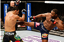 LAS VEGAS, NV - FEBRUARY 02:  (R-L) Rashad Evans kicks Antonio Rogerio Nogueira during their light heavyweight fight at UFC 156 on February 2, 2013 at the Mandalay Bay Events Center in Las Vegas, Nevada.  (Photo by Josh Hedges/Zuffa LLC/Zuffa LLC via Getty Images) *** Local Caption *** Rashad Evans; Antonio Rogerio Nogueira