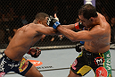 LAS VEGAS, NV - FEBRUARY 02:  (L-R) Rashad Evans punches Antonio Rogerio Nogueira during their light heavyweight fight at UFC 156 on February 2, 2013 at the Mandalay Bay Events Center in Las Vegas, Nevada.  (Photo by Donald Miralle/Zuffa LLC/Zuffa LLC via Getty Images) *** Local Caption *** Rashad Evans; Antonio Rogerio Nogueira