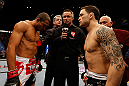 LAS VEGAS, NV - FEBRUARY 02:  Jose Aldo (left) and Frankie Edgar (right) face off before their featherweight title fight at UFC 156 on February 2, 2013 at the Mandalay Bay Events Center in Las Vegas, Nevada.  (Photo by Josh Hedges/Zuffa LLC/Zuffa LLC via Getty Images) *** Local Caption *** Jose Aldo; Frankie Edgar