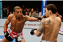 LAS VEGAS, NV - FEBRUARY 02:  Jose Aldo (left) punches Frankie Edgar (right) during their featherweight title fight at UFC 156 on February 2, 2013 at the Mandalay Bay Events Center in Las Vegas, Nevada.  (Photo by Josh Hedges/Zuffa LLC/Zuffa LLC via Getty Images) *** Local Caption *** Jose Aldo; Frankie Edgar
