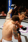 LAS VEGAS, NV - FEBRUARY 02:  Jose Aldo (right) punches Frankie Edgar during their featherweight title fight at UFC 156 on February 2, 2013 at the Mandalay Bay Events Center in Las Vegas, Nevada.  (Photo by Josh Hedges/Zuffa LLC/Zuffa LLC via Getty Images) *** Local Caption *** Jose Aldo; Frankie Edgar