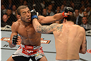 LAS VEGAS, NV - FEBRUARY 02:  (R-L) Frankie Edgar punches Jose Aldo during their featherweight title fight at UFC 156 on February 2, 2013 at the Mandalay Bay Events Center in Las Vegas, Nevada.  (Photo by Donald Miralle/Zuffa LLC/Zuffa LLC via Getty Images) *** Local Caption *** Jose Aldo; Frankie Edgar