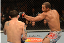 LAS VEGAS, NV - FEBRUARY 02:  (R-L) Jose Aldo punches Frankie Edgar during their featherweight title fight at UFC 156 on February 2, 2013 at the Mandalay Bay Events Center in Las Vegas, Nevada.  (Photo by Donald Miralle/Zuffa LLC/Zuffa LLC via Getty Images) *** Local Caption *** Jose Aldo; Frankie Edgar
