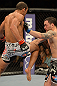 LAS VEGAS, NV - FEBRUARY 02:  Jose Aldo (left) knees Frankie Edgar during their featherweight title fight at UFC 156 on February 2, 2013 at the Mandalay Bay Events Center in Las Vegas, Nevada.  (Photo by Donald Miralle/Zuffa LLC/Zuffa LLC via Getty Images) *** Local Caption *** Jose Aldo; Frankie Edgar
