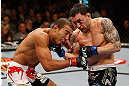 LAS VEGAS, NV - FEBRUARY 02:  (R-L) Frankie Edgar punches Jose Aldo during their featherweight title fight at UFC 156 on February 2, 2013 at the Mandalay Bay Events Center in Las Vegas, Nevada.  (Photo by Josh Hedges/Zuffa LLC/Zuffa LLC via Getty Images) *** Local Caption *** Jose Aldo; Frankie Edgar
