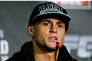 LONDON, ENGLAND - FEBRUARY 13:  Dustin Poirier interacts with media during a UFC press conference on February 13, 2013 at Hooks Gym in London, England.  (Photo by Josh Hedges/Zuffa LLC/Zuffa LLC via Getty Images)