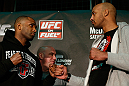 LONDON, ENGLAND - FEBRUARY 13:  (L-R) Opponents Jimi Manuwa and Cyrille Diabate face off during a UFC press conference on February 13, 2013 at Hooks Gym in London, England.  (Photo by Josh Hedges/Zuffa LLC/Zuffa LLC via Getty Images)