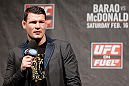 LONDON, ENGLAND - FEBRUARY 15:  Michael Bisping interacts with fans during a Q&amp;A session before the UFC weigh-in on February 15, 2013 at Wembley Arena in London, England.  (Photo by Josh Hedges/Zuffa LLC/Zuffa LLC via Getty Images)