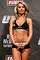 LONDON, ENGLAND - FEBRUARY 15:  UFC Octagon Girl Carly Baker stands on stage during the UFC weigh-in on February 15, 2013 at Wembley Arena in London, England.  (Photo by Josh Hedges/Zuffa LLC/Zuffa LLC via Getty Images)