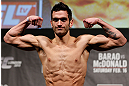 LONDON, ENGLAND - FEBRUARY 15:  Josh Grispi weighs in during the UFC weigh-in on February 15, 2013 at Wembley Arena in London, England.  (Photo by Josh Hedges/Zuffa LLC/Zuffa LLC via Getty Images)