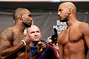 LONDON, ENGLAND - FEBRUARY 15:  (L-R) Opponents Jimi Manuwa and Cyrille Diabate face off during the UFC weigh-in on February 15, 2013 at Wembley Arena in London, England.  (Photo by Josh Hedges/Zuffa LLC/Zuffa LLC via Getty Images)