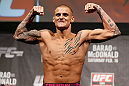 LONDON, ENGLAND - FEBRUARY 15:  Dustin Poirier weighs in during the UFC weigh-in on February 15, 2013 at Wembley Arena in London, England.  (Photo by Josh Hedges/Zuffa LLC/Zuffa LLC via Getty Images)